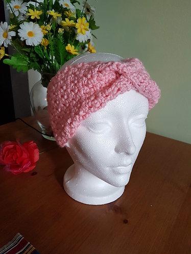 Bandeau rose au crochet