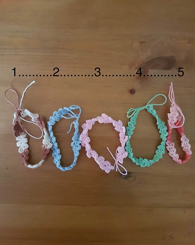 Bracelet ou cheville au crochet 3: rose uni