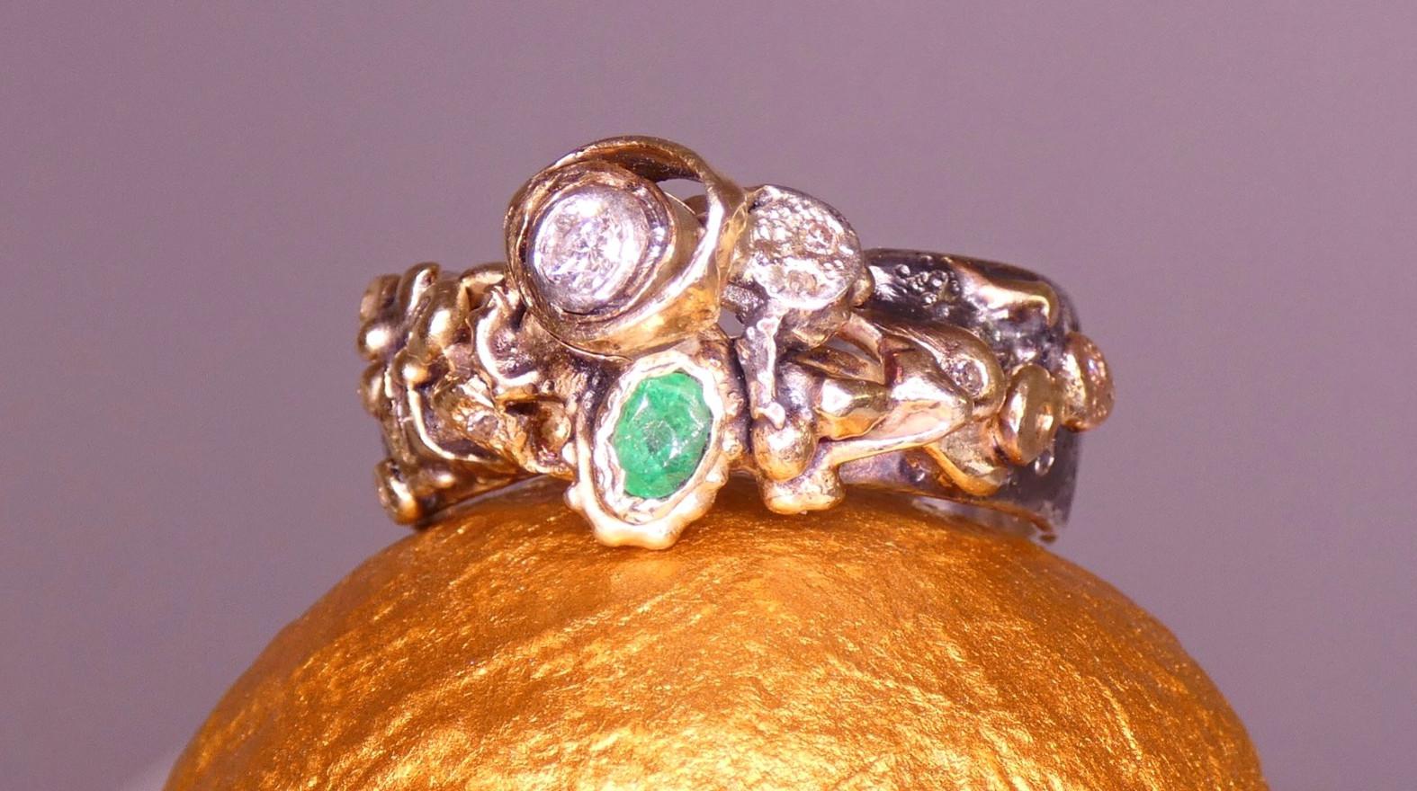 Commission Piece - Gold, silver, diamonds & emerald