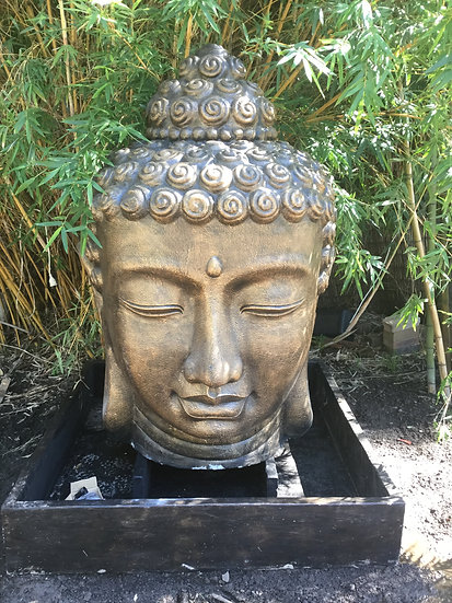 Extra Large Bronzed Buddha Head with Pond and Pump