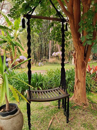 Single Seat Wooden Swing