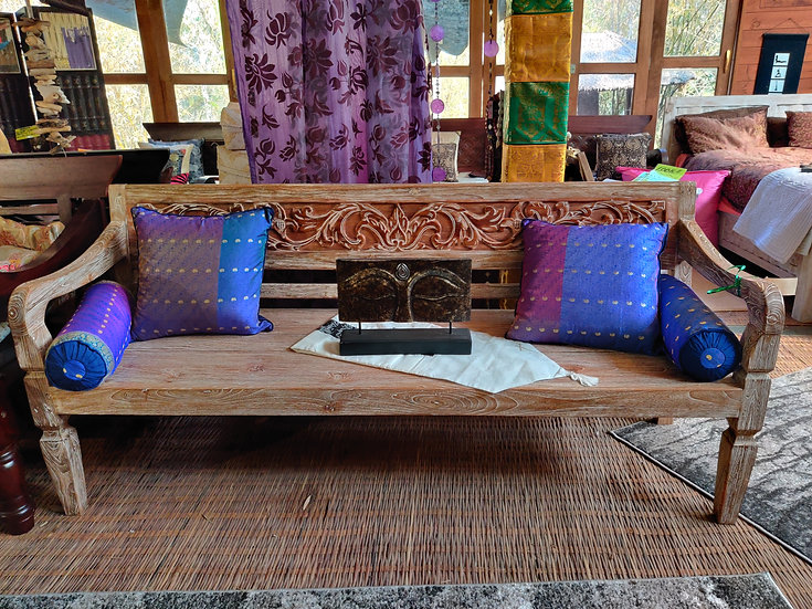 Solid Teak Carved Scroll Daybed White-washed