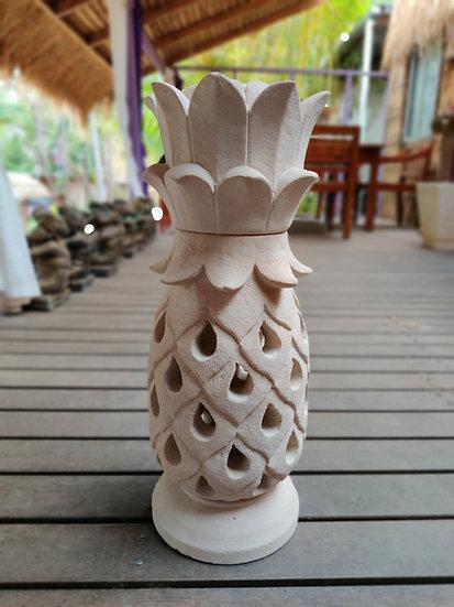 Carved Pineapple Sandstone Lamp