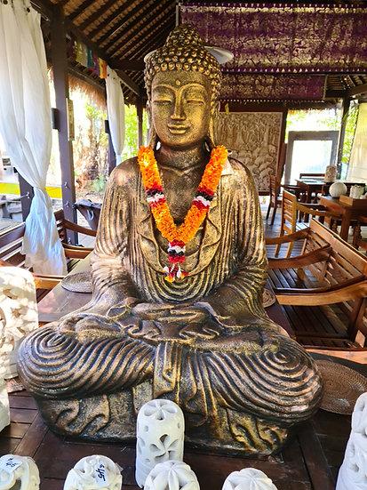 Sitting Buddha in Old Gold