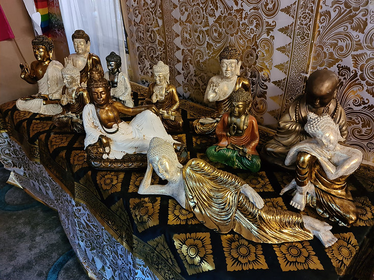Resin Buddhas in Various Sizes Positions and Colours