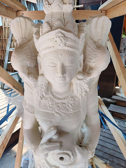 White Stone Traditional Goddess Statue