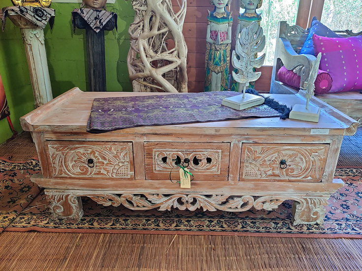 Ornate Carved White Washed Teak Coffee Table