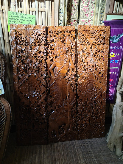 3 Panels Hand-Carved Solid Teak Relief Arcitectual Piece