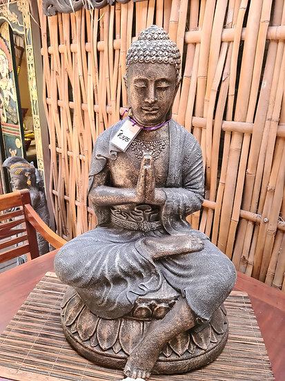 Grey with Bronze Sitting on Lotus Buddha
