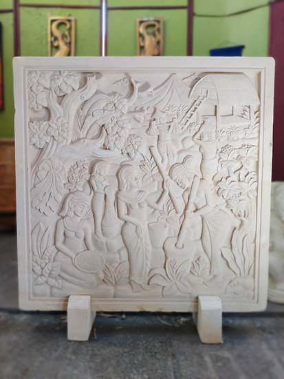 Stone Carved Bali Village Relief