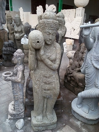 PREORDER - Solid Greenstone Balinese Lady Statues