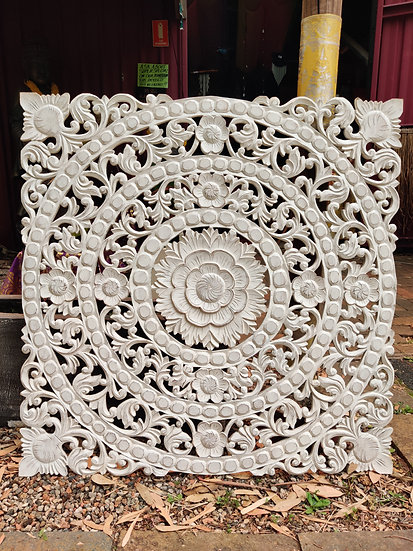 White Hand-Carved Solid Wood Relief