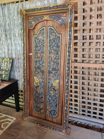 Traditional Gold Inlaid Crane Balinese Doors