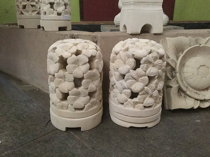 Carved Flower Sandstone Dome Lamp