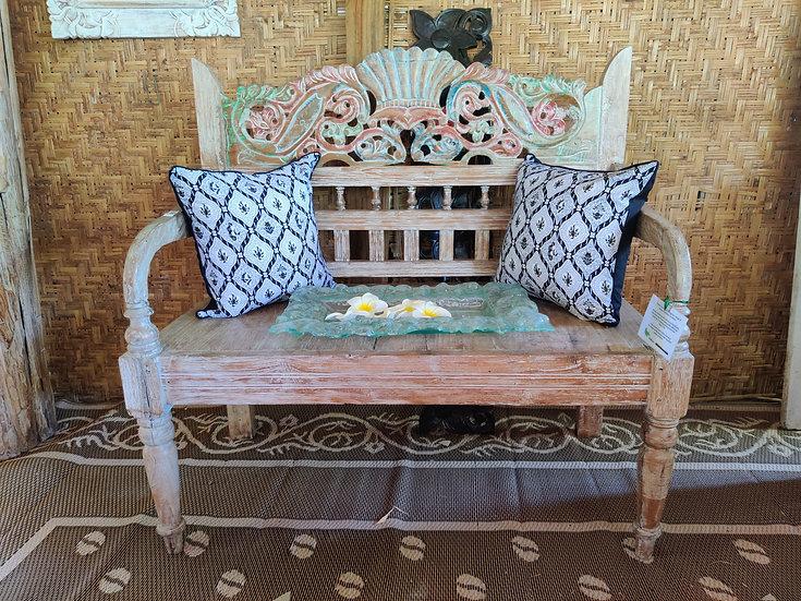 Decorative White-washed Teak Bench