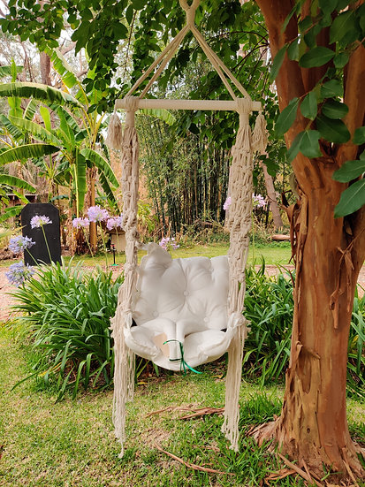 Childs White Rope Chair Swing