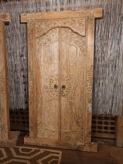 Balinese Solid Timber White Washed Doors with Frame