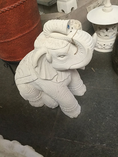 Composite Stone Sitting Elephant