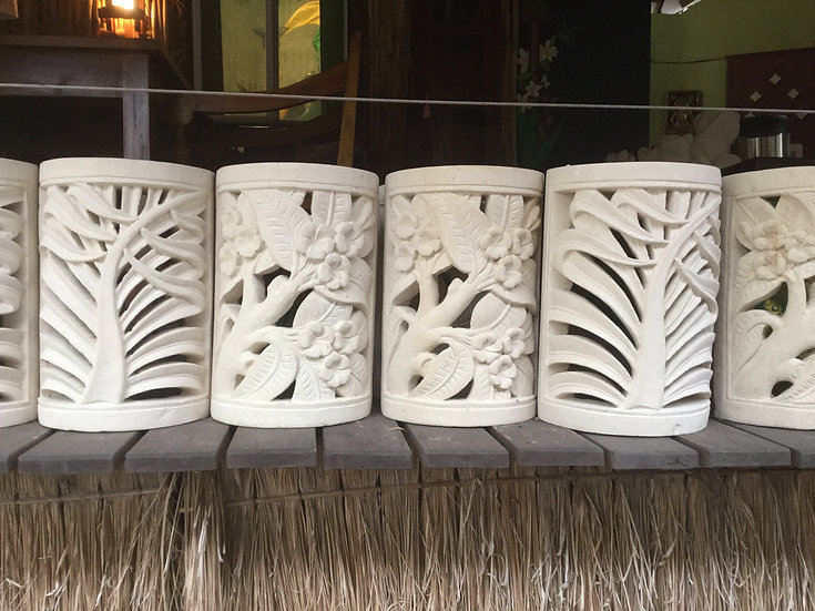 Carved Sandstone Wall Lamps