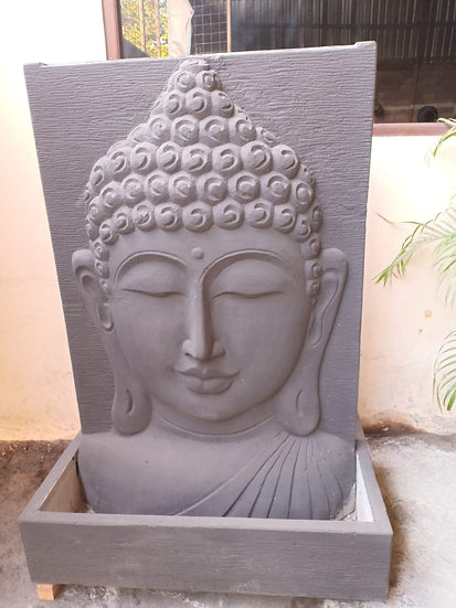 Dark Buddha Face Relief Water Feature