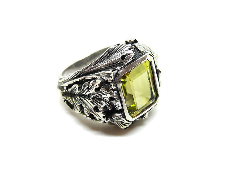 Flora ring - lemon quartz