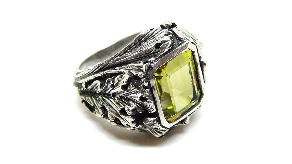 Flora ring - lemon quartz