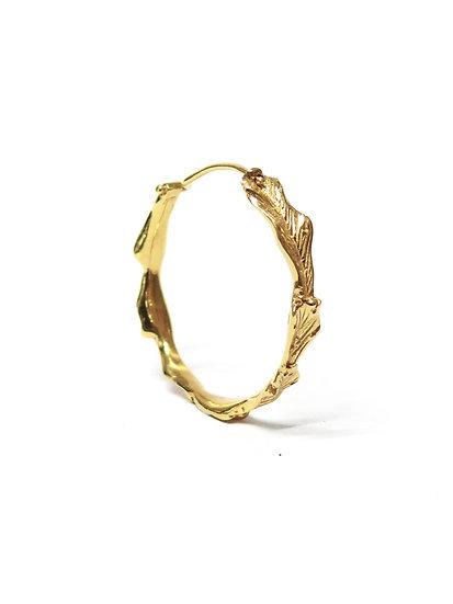 Golden acanthus large hoop earring