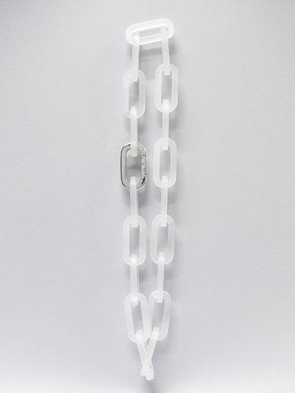 Zero carabiner crystal plexiglas necklace chain + bracelet