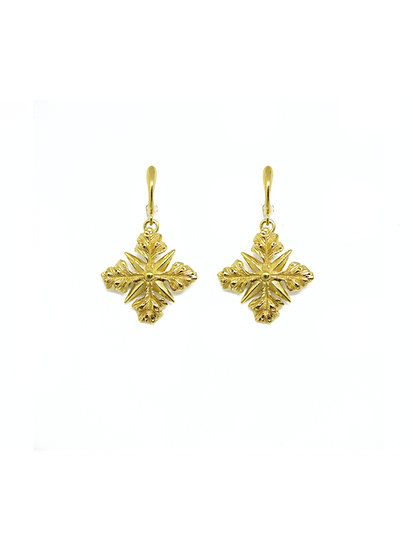 Golden acanthus cross earring (single piece)