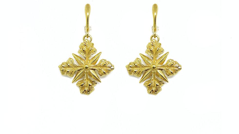 Golden acanthus cross earring (single piece)