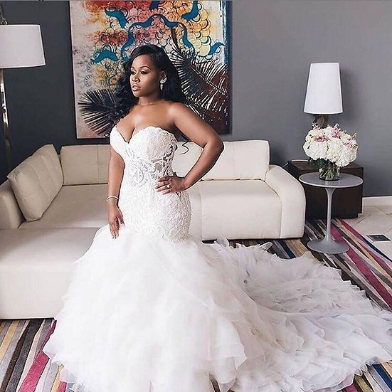 Sweetheart Lace Mermaid Plus Size Bridal Gowns