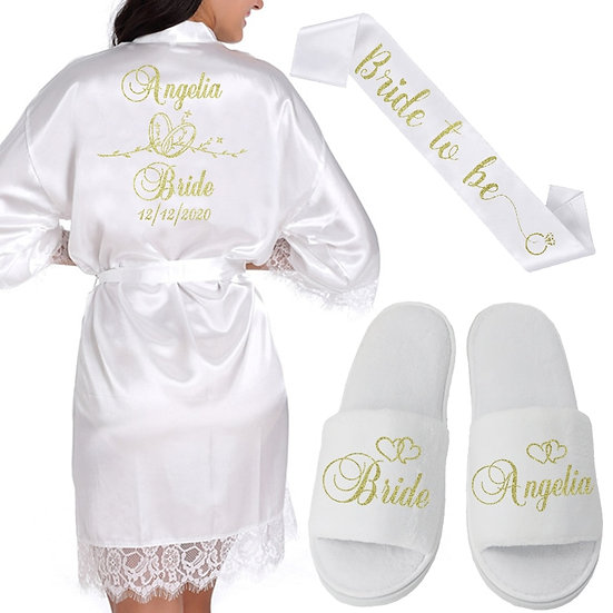 Personalized Date & Name Wedding Preparation Wear