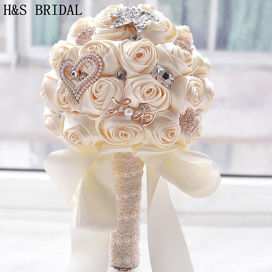 Ribbon Rose with Pearl and Rhinestone Accents Bouquet