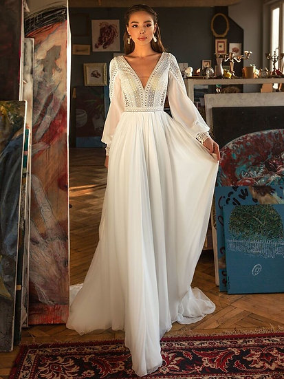 LORIE Bohemian Wedding Dresses Puff Sleeve Lace v Neck