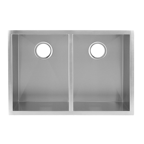 HANDMADE 50/50 SQUARE DOUBLE BOWL UNDERMOUNT KITCHEN SINK