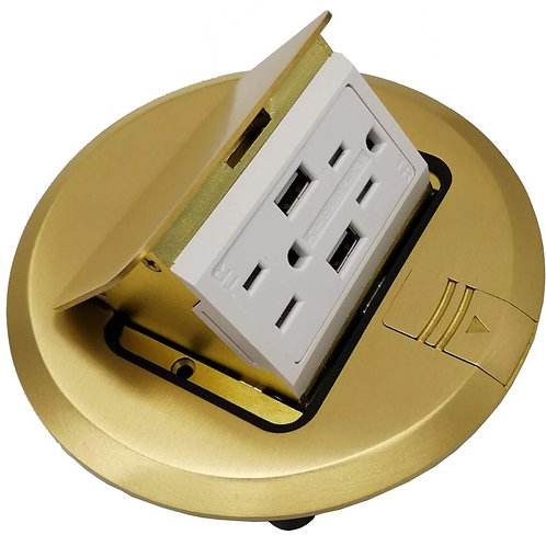 USB Pop Up Receptacle Floor Outlet Countertop Box With W/15 A Duplex Receptacle,