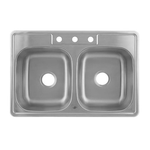 50/50 DOUBLE BOWL TOP MOUNT KITCHEN SINK