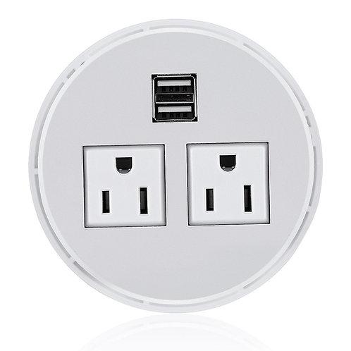 Desktop Power Grommet Hub 2 Power Socket & Dual USB Ports for Office Desk Gromme
