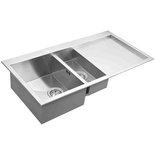 HANDMADE DOUBLE BOWL TOP MOUNT KITCHEN SINK WITH DRAINING BOARD