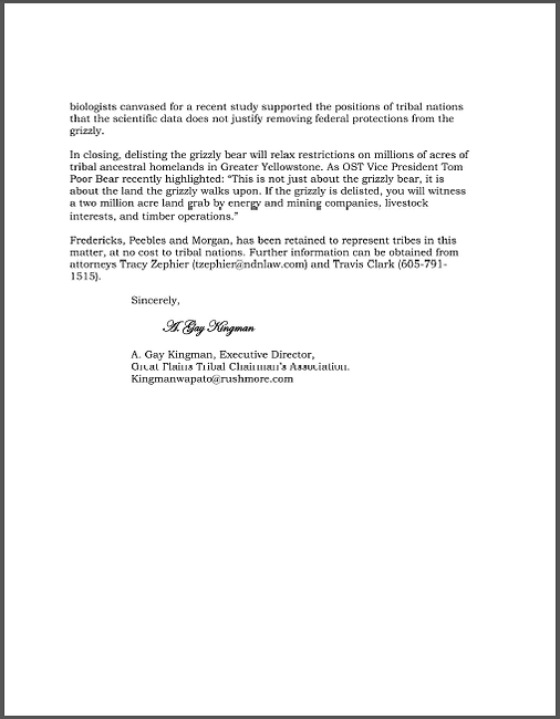 Great Plains Tribal Chairmans Association statement supporting GOAL and grizzly bears
