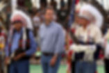 Montana Governor Bullock with tribal leaders Harry Barnes and Earl Old Person at the Indian Days powwow 2015