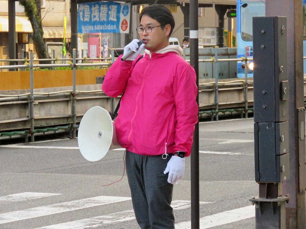 やすおか宏武 鹿児島駅・天文館方面 街頭演説