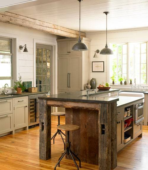 Barnwood Kitchen Island and Beam