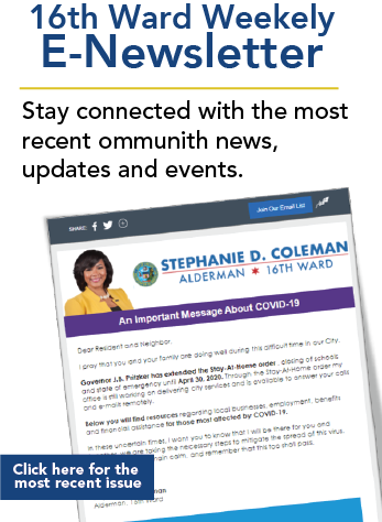 16th Ward Weekly E-Newsletter