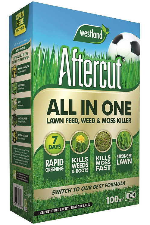 Aftercut All in One Lawn Feed, Weed & Moss Killer 100m2