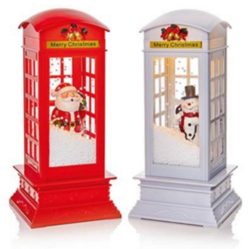 31cm Lit Musical Snow Blowing Telephone Box