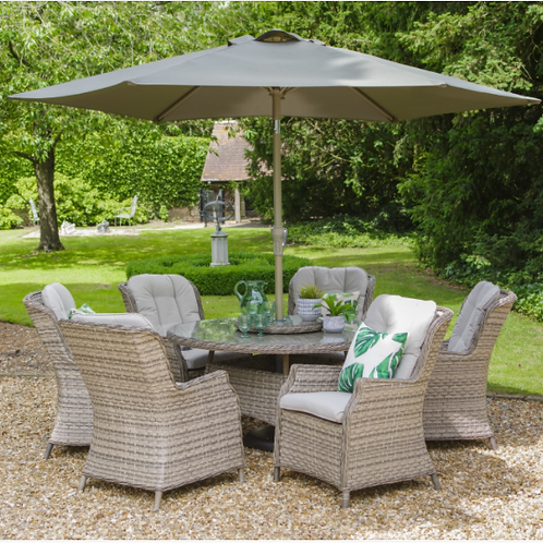 Lyon 6 Seat Dining Set with Deluxe 3.0m Parasol
