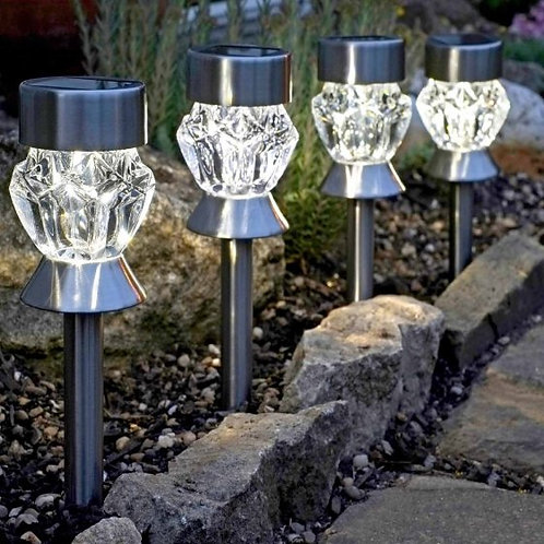 Dual Function Crystal Glass Stake Light 4-pack - solar