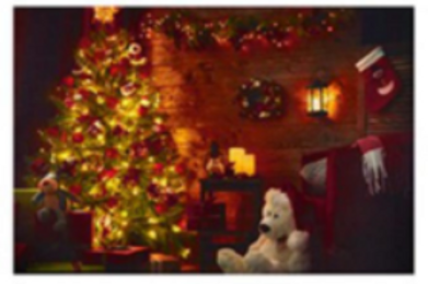 LED Christmas Cabin Canvas 40 x 60cm
