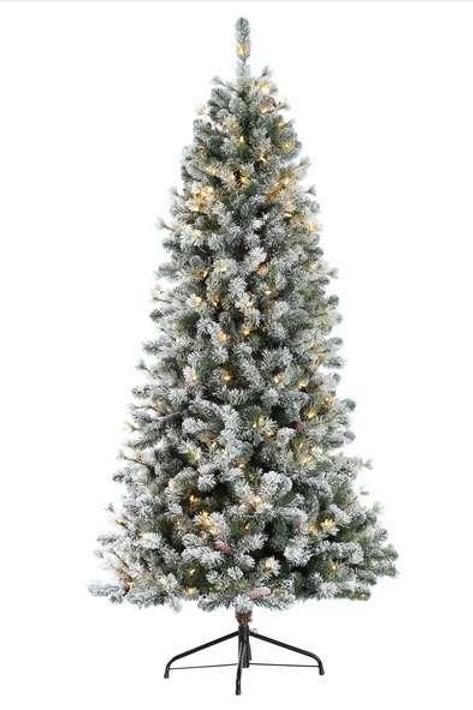 Slim Snowy Pine 195cm Prelit
